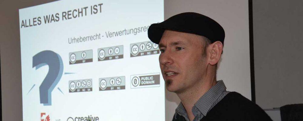 Danilo Dietsch hält regelmäßig Vorträge zum Thema Urheberechte.
